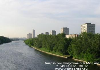 Вид с моста на Серебряный бор в районе Хорошево-Мневники