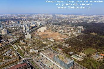 Вид на район Москвы Марфино с высоты птичьего полета.