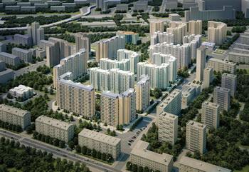 Панорамный вид района Москвы Марфино