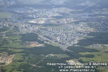 Панорама района Митино в Москве с высоты птичьего полёта