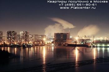 Пойма Нагатинского Затона в ночное время
