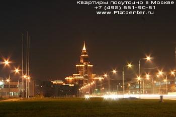 Фото Ленинградского проспекта в районе Москвы Сокол.Район Москвы Сокол вечером