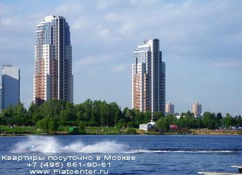 Пляж в районе Москвы Строгино