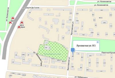 Карта района у гостиницы Ярославской в Москве.Ул Ярославская д 8. кор. 1