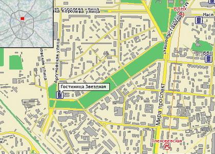 Карта района у гостиницы