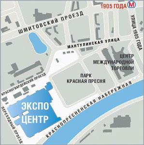 Карта района Экспоцентра,как добраться Экспоцентр,расположение Совинцентра,ЦМТ